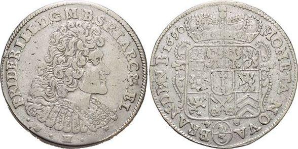 2/3 Taler(Gulden) 1690 BH Brandenburg-Preussen Friedrich III. 1688-1701. Kl.Sf., sehr schön