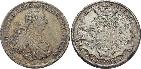 Konventionstaler 1769 WE Löwenstein-Wertheim-Rochefort Karl Thomas 1735-1789. Rd.l.just., schöne Patina, sehr schön - vorzüglich
