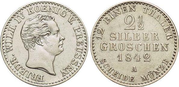 2 1/2 Silbergroschen 1842 A Brandenburg-Preussen Friedrich Wilhelm IV. 1840-1861. sehr schön - vorzüglich