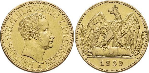 Gold-Doppel-Friedrichsd'or 1839 A Brandenburg-Preussen Friedrich Wilhelm III. 1797-1840. Selten, fast vorzüglich