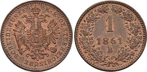 CU-Kreuzer 1861 B Haus Habsburg / Österreich Franz Joseph I. 1848-1916. Stempelglanz