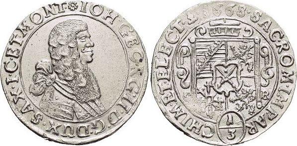1/3 Taler 1668 CR Sachsen-Albertinische Linie Johann Georg II. 1656-1680. vorzüglich - Stempelglanz