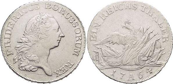 Taler 1764 A Brandenburg-Preussen Friedrich II. 1740-1786, Münzstätte Berlin. Kl.Kr.a.Rs., gereinigt, vorzüglich