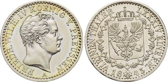 1/6 Taler 1843 A Brandenburg-Preussen Friedrich Wilhelm IV. 1840-1861. Winz.Kr., fast Stempelglanz