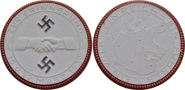 Weisse Porzellan-Medaille (Meissen) 1939 Drittes Reich Selten, prägefrisch