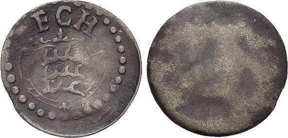 Einseitiger Pfennig 1677-1693 Württemberg Friedrich Karl 1677-1693. Selten, sehr schön +
