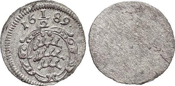Einseitiger 1/2 Kreuzer 1689 Württemberg Friedrich Karl 1677-1693. vorzüglich