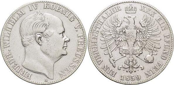 Vereinstaler 1859 A Brandenburg-Preussen Friedrich Wilhelm IV. 1840-1861. sehr schön - vorzüglich