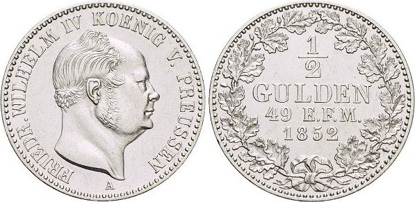 Für Hohenzollern, 1/2 Gulden 1 1852 A Brandenburg-Preussen Friedrich Wilhelm IV. 1840-1861. vorzüglich