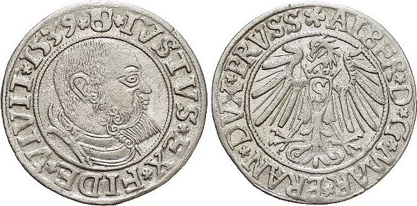Groschen 1539 Preussen-Herzogtum (Ostpreussen) Albrecht von Brandenburg 1525-1569. vorzüglich
