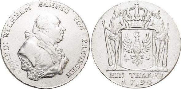 Taler 1794 A Brandenburg-Preussen Friedrich Wilhelm II. 1786-1797. Rd.d.Vs.l.just., fast vorzüglich