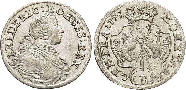 3 Kreuzer 1755 B Brandenburg-Preussen Friedrich II. 1740-1786, Münzstätte Breslau. vorzüglich - Stempelglanz