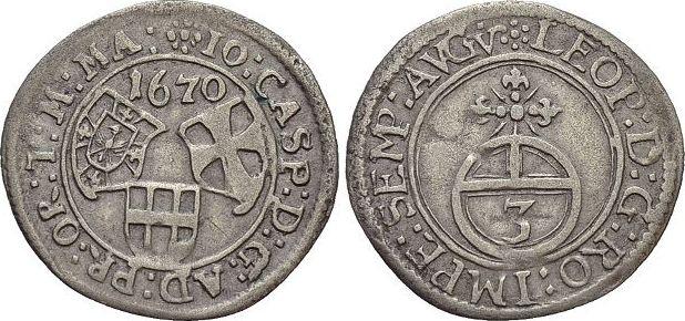 3 Kreuzer 1670 Deutscher Orden Johann Caspar von Ampringen 1664-1684. sehr schön - vorzüglich
