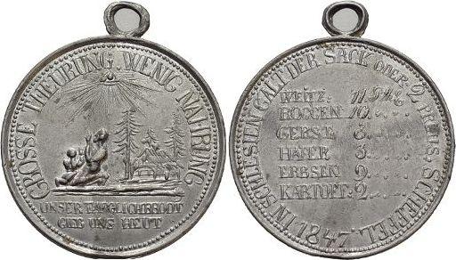 Medaille 1847 Schlesien-Medaillen Mit angeprägter Oese, kl.Rf., fast vorzüglich