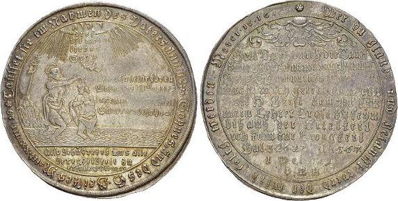 Tauftaler 1741 Harz Johann Benjamin Hecht, Münzmeister in Zellerfeld 1739-1762. Schöne Patina, min.Prägeschwäche a.Vs., vorzüglich