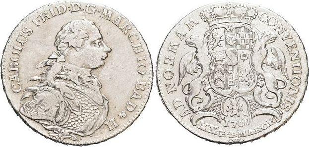 1/2 Konventionstaler 1767 W Baden-Durlach Karl Friedrich 1738-1806. Min.Kr., sehr schön - vorzüglich