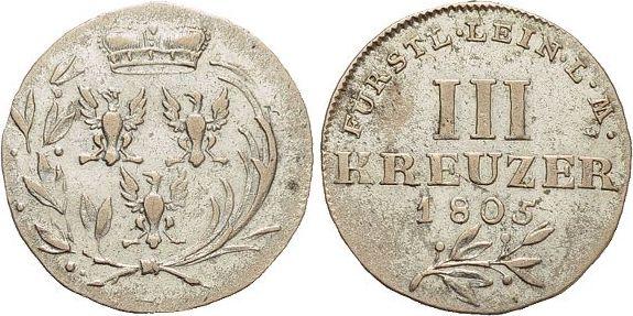 3 Kreuzer 1805 L Leiningen-Dagsburg Karl Friedrich Wilhelm 1756-1807. sehr schön - vorzüglich