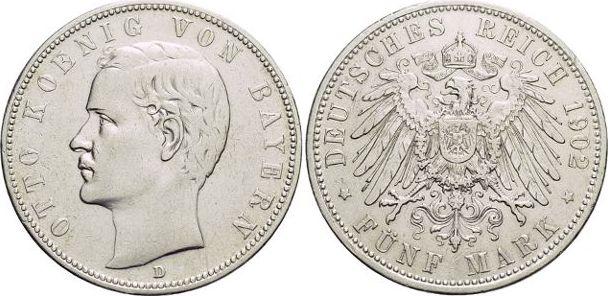 5 Mark 1902 D Bayern Otto 1886-1913. Min.Rf., sehr schön