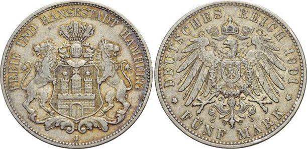 5 Mark 1901 J Hamburg Kl.Rf., sehr schön +