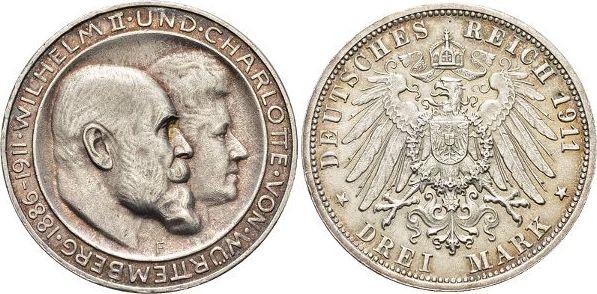 3 Mark 1911 F Württemberg Wilhelm II. 1891-1918. Kl.Rf., Patina, vorzüglich - Stempelglanz