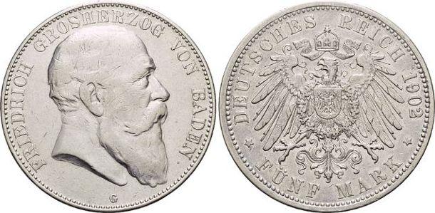 5 Mark 1902 G Baden Friedrich I. 1856-1907. sehr schön