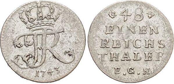 1/48 Taler 1743 Brandenburg-Preussen Friedrich II. 1740-1786, Münzstätte Berlin. sehr schön - vorzüglich