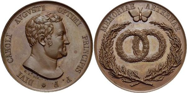 Bronze-Medaille o.Jahr 1829 Sachsen-Weimar-Eisenach Carl August 1775-1828. Schöne Patina, vorzüglich - Stempelglanz