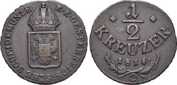 CU-1/2 Kreuzer 1816 O Haus Habsburg / Österreich Franz II.(I.) 1792-1835. sehr schön +