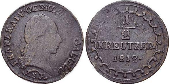CU-1/2 Kreuzer 1812 S Haus Habsburg / Österreich Franz II.(I.) 1792-1835. Schw.Prst.a.Rd., sehr schön