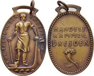 Bronze Medaillen von Karl Goetz 1875 bis 1950 Mit angeprägter breiter Oese, kl.Flecken, vorzüglich