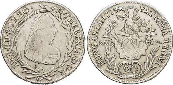 20 Kreuzer 1779 B Haus Habsburg / Österreich Maria Theresia 1740-1780. Rs.l.just., sehr schön