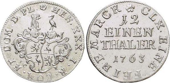 1/12 Taler 1763 Reuss-Jüngerer Linie (Gera) Heinrich XXX. 1748-1802. vorzüglich +