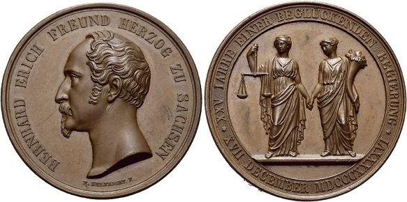 Bronze-Medaille 1846 Sachsen-Meiningen Bernhard Erich Freund 1803-1866. Min.Kr., vorzüglich - Stempelglanz