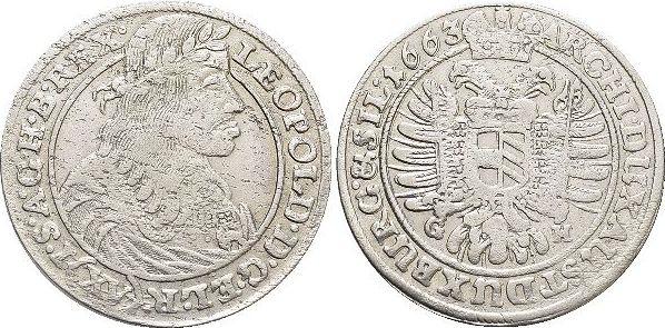 15 Kreuzer 1663 GH Haus Habsburg / Österreich Leopold I. 1657-1705. Min.Sf., sehr schön +