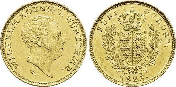 Gold-5 Gulden 1825 W Württemberg Wilhelm I. 1816-1864. Winz.Kr., selten, vorzüglich - Stempelglanz