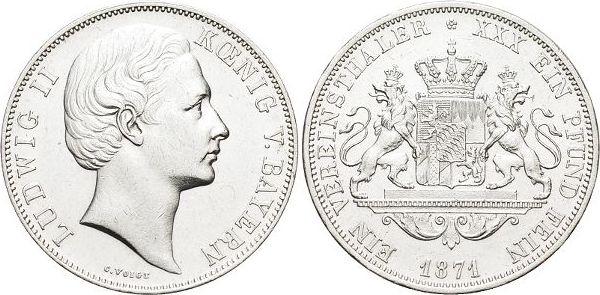 Vereinstaler 1871 Bayern Ludwig II. 1864-1886. Min.Kr., vorzüglich
