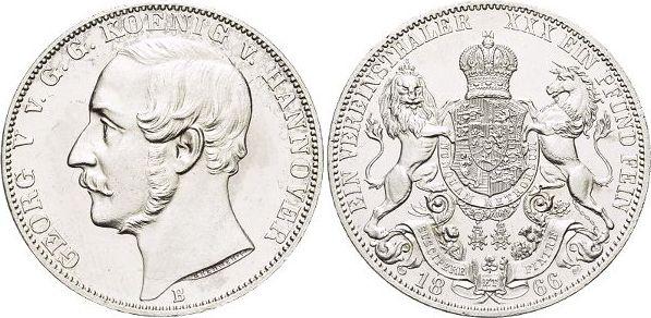 Vereinstaler 1866 B Hannover-Königreich Georg V. 1851-1866. Gereinigt, winz.Kr., fast Stempelglanz