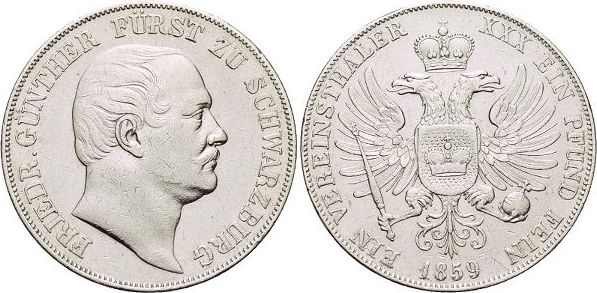 Vereinstaler 1859 Schwarzburg-Rudolstadt Friedrich Günther 1807-1867. Kl.Kr., sehr schön - vorzüglich