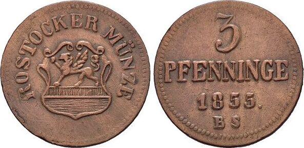 CU-3 Pfennig 1855 BS Mecklenburg-Rostock, Stadt sehr schön - vorzüglich