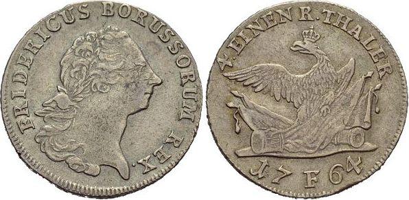 1/4 Taler 1764 F Brandenburg-Preussen Friedrich II. 1740-1786, Münzstätte Magdeburg. Min.Kr.a.Vs., sehr schön - vorzüglich