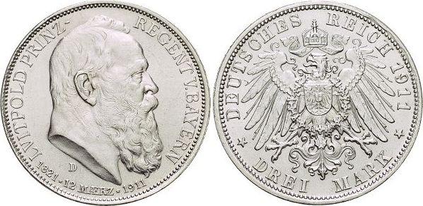 3 Mark 1911 D Bayern Otto 1886-1913. Winz.Kr., vorzüglich - Stempelglanz
