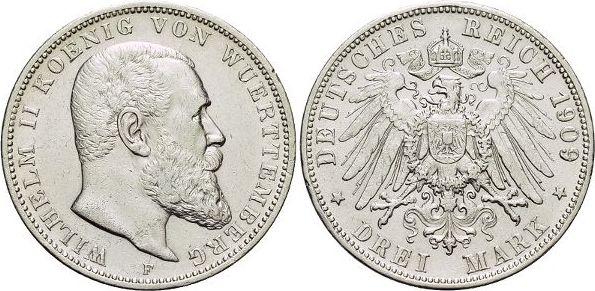 3 Mark 1914 F Württemberg Wilhelm II. 1891-1918. Min.Rf., fast vorzüglich