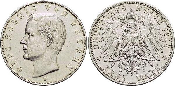 3 Mark 1912 D Bayern Otto 1886-1913. sehr schön - vorzüglich
