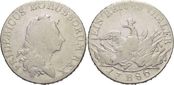 Taler 1786 B Brandenburg-Preussen Friedrich II. 1740-1786, Münzstätte Breslau. Schwach geprägr, fast sehr schön