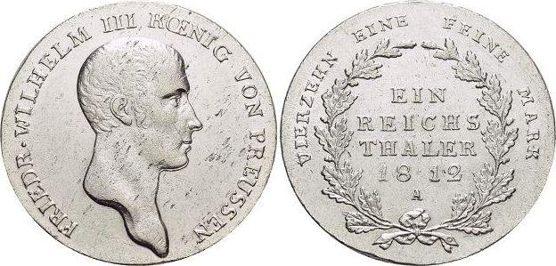 Taler 1812 A Brandenburg-Preussen Friedrich Wilhelm III. 1797-1840. Kl.Sf., vorzüglich