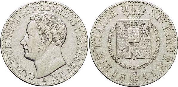 Taler 1841 A Sachsen-Weimar-Eisenach Carl Friedrich 1828-1853. fast vorzüglich