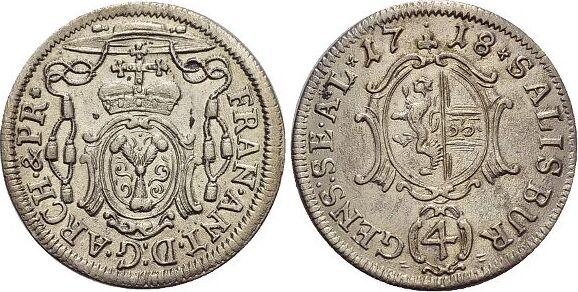4 Kreuzer(Batzen) 1718 Salzburg-Erzbistum Franz Anton von Harrach 1709-1727. vorzüglich
