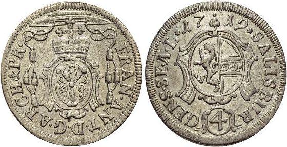 4 Kreuzer(Batzen) 1719 Salzburg-Erzbistum Franz Anton von Harrach 1709-1727. vorzüglich - Stempelglanz