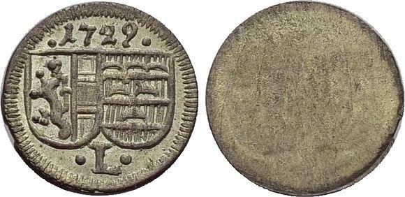 Einseiteiger Pfennig 1729 Salzburg-Erzbistum Leopold Anton von Firmian 1727-1744. vorzüglich +