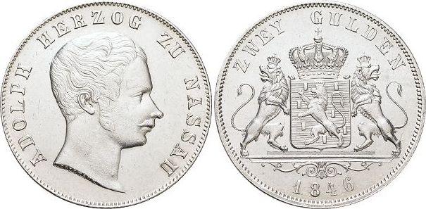 Doppelgulden 1846 Nassau Adolph 1839-1866. Gereinigt, min.Kr., vorzüglich +